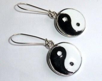 Tibetan Silver Yin Yang Earrings earthegy