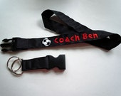 Soccer Lanyard With Detachable Key Fob PERSONALIZED With YOUR NAME