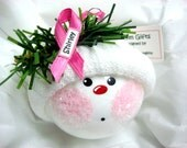 Breast Cancer Survivor Gift Christmas Ornament Pink Ribbon Townsend Custom Gifts Handmade Name Tag