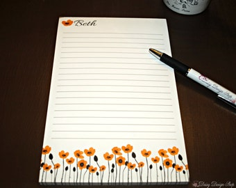 Personalized Tearaway Notepad with 50 Sheets - Colorful Poppy Flowers