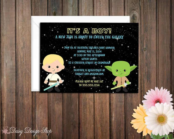 baby shower invitation star wars inspired galactic space defenders