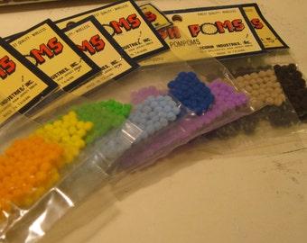 Vintage NOS Pom Poms Sewing Crafting Supply Embellishment