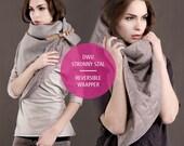 Triangle Shawl Women Men Scarf Unisex QUILTING PU Fleece Dress Cotton Grey Melange Oversize Cozy Warm Wrapper GRAY Leather Label