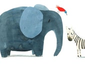 Zebra, Elephant & Bird Giclee Print