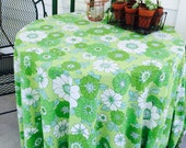 Vintage Green Floral Round Tablecloth Mod 1960s 1970s