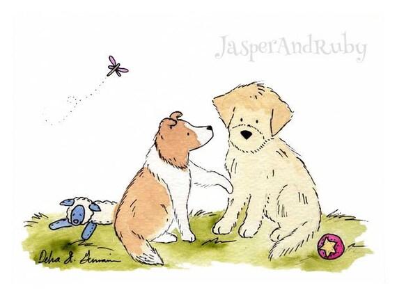 Puppy Dog Nursery Art- Sheltie Print Golden Retriever Print- 5X7 8x10 11x14 PRINT- Children's Wall Art- Kids Wall Art Nursery Decor Baby Art