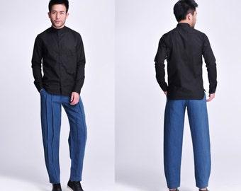 Fun- Loving Jett / A-Block Full Detail in the Asian Style Linen Men's Shirt / 15 Colors / RAMIES
