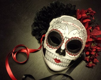 Mi Amor Day of the Dead Mask-  heart and banner skeleton sugar Skull Red and Black Dia De los Muertos Katrina Ready to ship