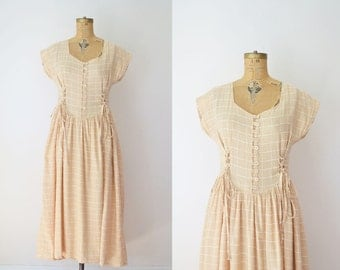 1980s Cotton Gauze Dress / 80s Neutral Sundress