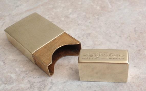 Brass Razor Blade Box Gillette Vintage Estate