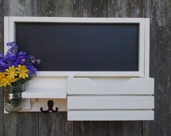 A   Large Chalkboard--Message Center--Letter holder--Magazine Holder--Message board--Mason Jar Vase-Kitchen Organizer