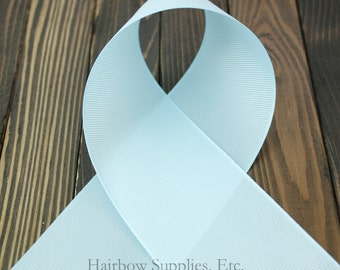 Light Blue 3 inch Solid Grosgrain Ribbon - Cheer Ribbon - Wide Ribbon for Hair Bows - Hairbow Supplies, Etc.