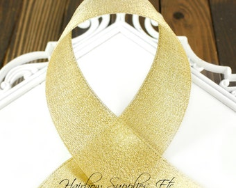 Gold Metallic Ribbon 1/2 inch- Hairbow Supplies, Etc.