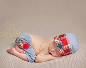 newborn boy HAT & SHORTS set (Quinn) - photography prop - blue, red, navy, yellow, cream