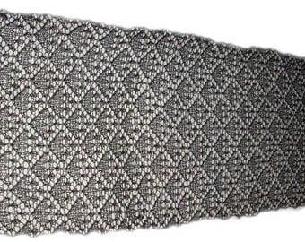 Dark grey charcoal Black Diamonds  lacy stole scarf rectangle shawl lambswool