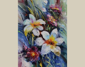 Made2Order Oil Painting Colorful Flowers Palette Knife Texture Romantic White Blue Purple Lily Abstract  Handmade Large ART by Marchella
