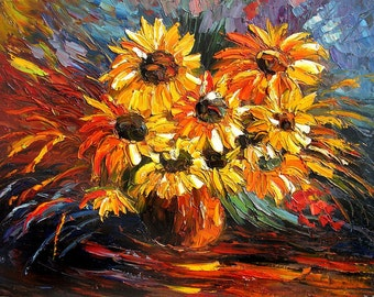 ORIGINAL Oil MADE2ORDER Pallete Knife Stillife Sunflowers Yellow Golden Green Red Table Romantic Bright  Handmade wall home Art by Marchella