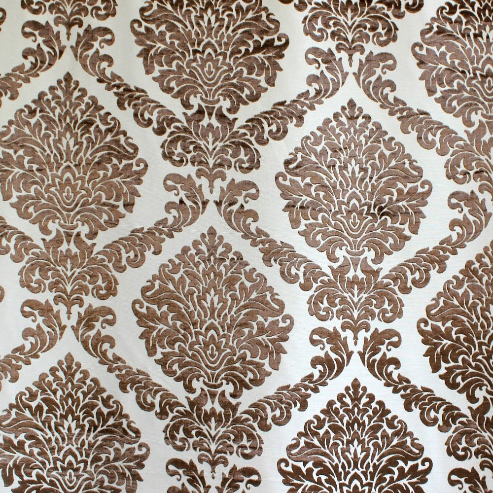 Brown N Ivory Damask Fabric Upholstery Fabric Curtain
