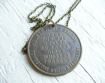 Brass Bordello Token Necklace for Honest Walt's Saloon - All Night 3 Dollars