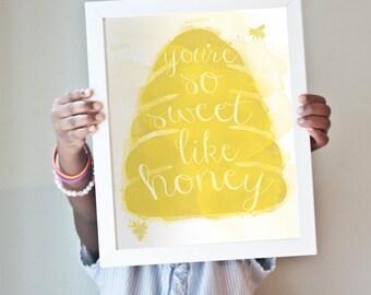 Sweet Like Honey print in golden yellow