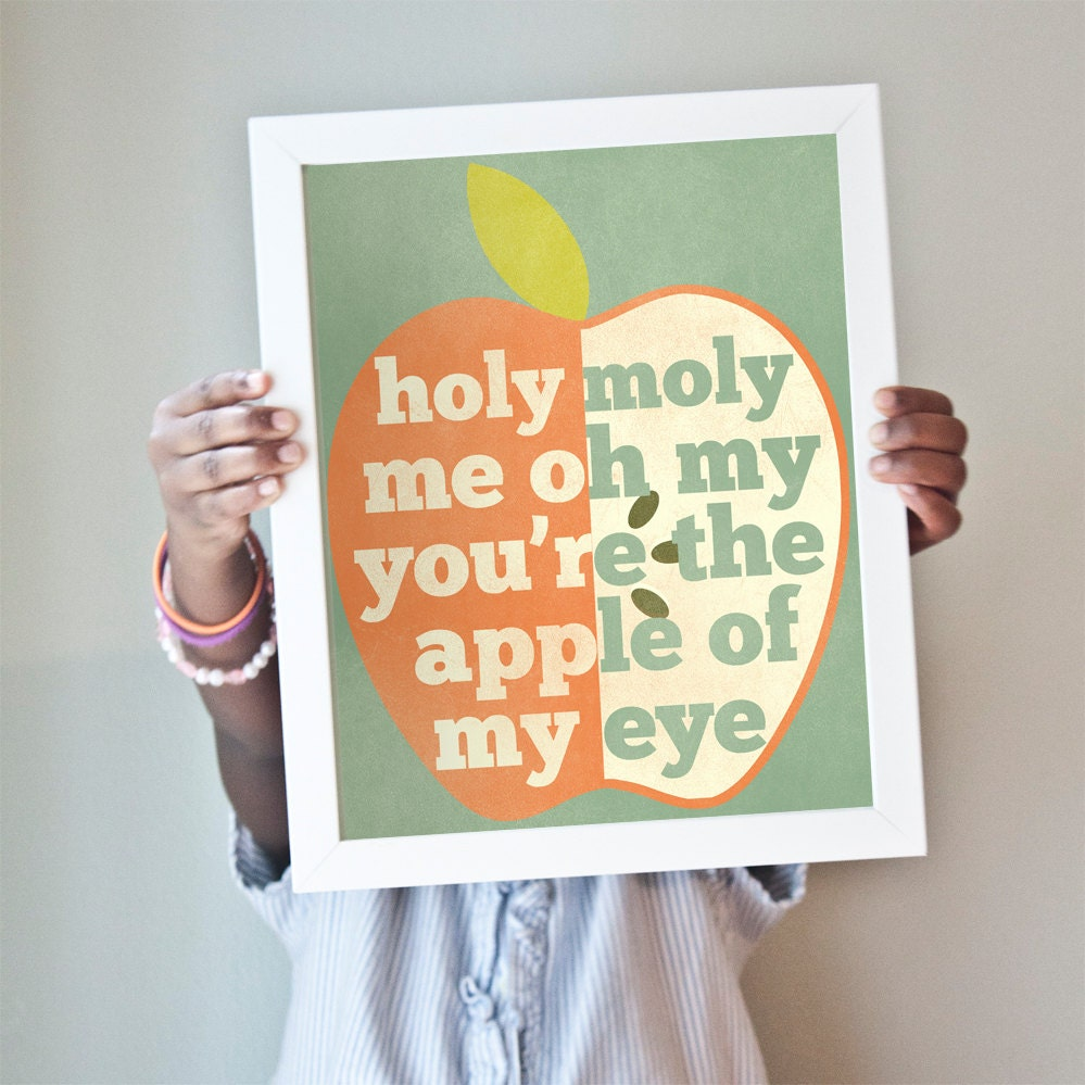 Apple of My Eye print in muted reds, blues, and greens