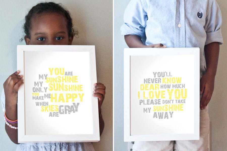 You Are My Sunshine print set in yellow and gray
