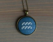 Zodiac sign necklace - Cross stitch necklace - Constellation symbol - pick your zodiac sign - n057