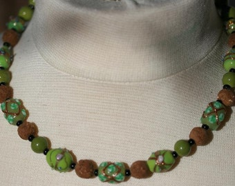 Fragrant Patchouli Bead Necklace in Shades of Green
