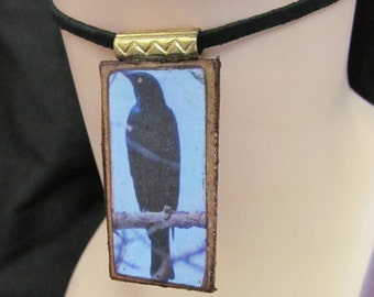 Black Bird Crow Mixed Media Necklace Pendant Q 62