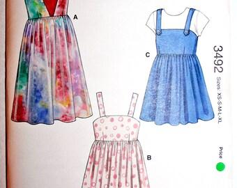 UNOPENED Kwik Sew 3492 Empire Waist Dress Sewing Pattern Size XS S M L XL