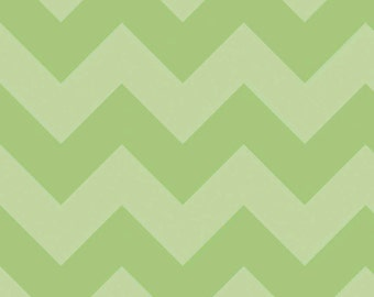 SALE - One Yard - Large Chevron in Green by Riley Blake - Tone on Tone