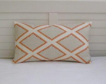 Sarah Richardson for Kravet Brookhaven in Coral and Tan Geometric Linen Designer Lumbar Pillow Cover