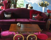 Antique Steampunk Vintage Rolling Factory Cart Wood Coffee Table Assemblage OOAK