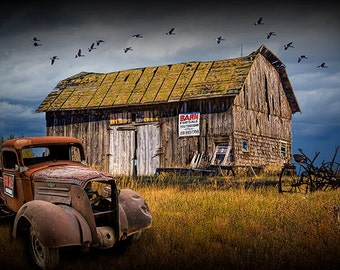 Old Vintage Truck by Wooden Barn for Sale in the country in the Upper Peninsula in Michigan No.09762 Color Fine Art Landscape Photography