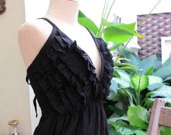 Back Smocked V Maxi Cotton Dress - Black