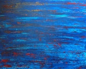 Art Sale Large Original Abstract Art Blue and Red Painting
