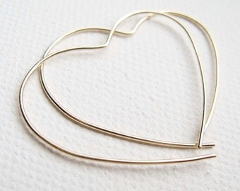 9k Solid Yellow Gold, Large Open Heart Hoop, Simple Gold Earrings,Gold Heart Earrings, Gold Hoop