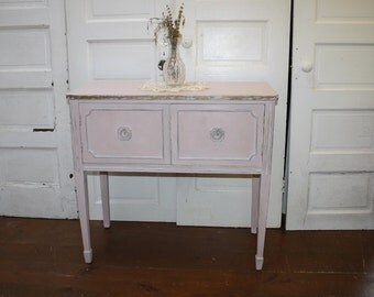 Shabby Chic Cabinet Server Entertainment Center Antique French Petite  Sideboard Buffet Painted Light Pink Gold Distressed