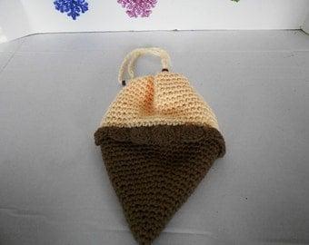 Vanilla Ice Cream Cone Purse Hand crochet by kams-store.com