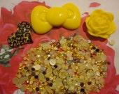Kawaii decoden deco diy cabochon charm yellow bow kit  D 502---USA seller