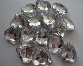 Kawai Clear heart acrylic rhinestones decoden craft Deco diy  15 mm   15 pcs--USA seller