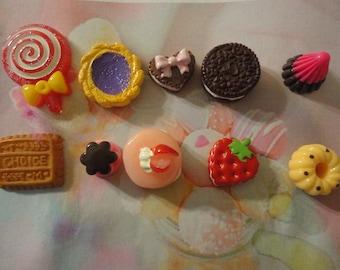 Kawaii sweets cabochon decoden deco diy charm mix BB   10 pcs---USA seller