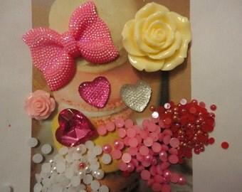 Kawaii decoden phone deco diy charm big pink bow cabochon kit  117--USA seller