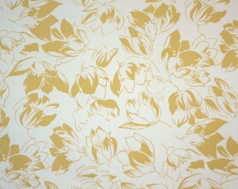SPECIAL--Goldenrod Yellow and White Floral Print Pure Cotton Faille Fabric--One Yard
