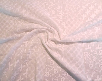 White on White Patchwork Design Embroidered Pure Cotton Lawn Fabric--One Yard