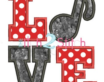 Music Note Love Applique Design In Hoop Size(s) 4x4, 5x7, & 6x10 INSTANT DOWNLOAD now available
