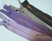 Old Stock Lot - 4 Vintage Metal Tooth Zippers (2) Purple Lavender Shades, Gray, Black