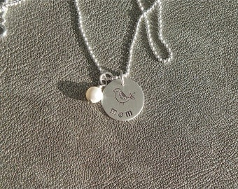 Personalized Hand Stamped Sterling Silver Momma Bird Charm with Swarovski Pearl - Gifts for Her - Mother's Day