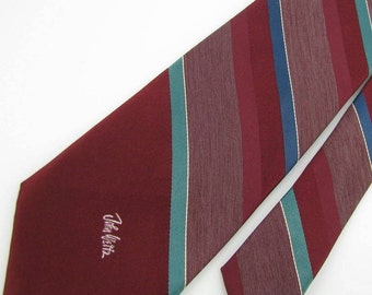 Vintage Narrow John Weitz Stripe Maroon Navy Olive  Men Neck Tie Necktie #E4585v