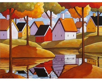PAINTING ORIGINAL Folk Art, Fall River Cottage Trees, Autumn Landscape Water Reflections, Acrylic on Canvas Artwork by Artist Horvath 18x24